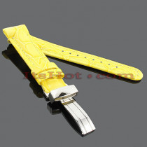 Watch Bands: Benny & Co Leather Watch Band 20mm Yellow