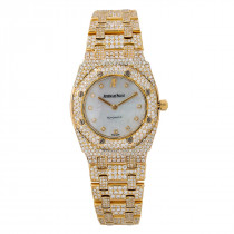 18k Gold Ladies Diamond Watch Audemars Piguet Royal Oak 27mm 67075ba White MOP Dial