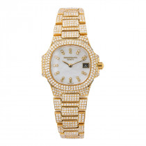 18k Yellow Gold Patek Philippe Diamond Watch for Women 27mm White Dial 11ct