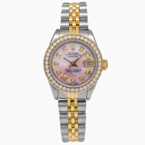 26mm Diamond Rolex Oyster Perpetual Lady-DateJust Pink MOP Watch 18k Gold Jubilee Bracelet
