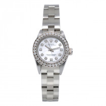 26mm Rolex Diamond Watch for Women White MOP Dial Oyster Perpetual 0.9ct