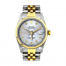 36mm Rolex Datejust Mens Custom Diamond Watch Stainless Steel & 18K Gold