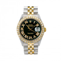 36mm Rolex Diamond Watch for Men Datejust 1603 Black Dial 3.75ct 18k Gold