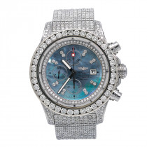 48mm Iced Out Diamond Breitling Super Avenger Watch For Men Blue MOP 24.85c