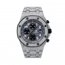 Audemars Piguet Royal Oak Offshore Chronograph 42mm Gray Dial Mens Diamond Watch
