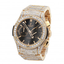 Bust down 18K Rose Gold Hublot Classic Fusion Chronograph Mens Diamond Watch