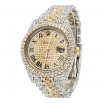 Bust Down Rolex Diamond Watch For Men 41mm Two Tone Datejust 18k Gold 17.25