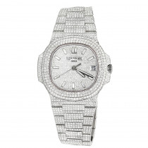 Custom Fully Iced Out Mens Diamond Patek Philippe Watch Stainless Steel 40mm