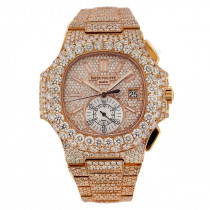 Fully Iced Out Patek Philippe Nautilus Diamond Watch for Men 18k Rose Gold 40.5mm