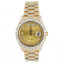 Iced Out 18k Gold Rolex Day-Date Presidential Diamond Watch for Men 40mm