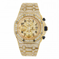 Iced Out Mens Diamond Watch Audemars Piguet Royal Oak Offshore Yellow Gold 42mm