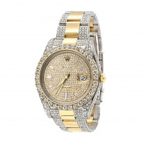 Iced Out Two Tone Rolex Datejust II Mens Diamond Watch 18k Gold & Stainless Steel 41mm