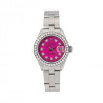 Ladies 26mm Rolex Oyster Perpetual Datejust Purple Diamond Dial and Bezel Watch 6916