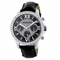 Luxurman Liberty Mens Diamond Watch Black Dial Swiss MVT Leather Band 3ct