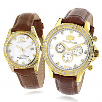 Luxurman Matching His & Hers Yellow Gold Plated Diamond Watches Leather Band