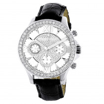 Mens Genuine Diamond Watch Luxurman Liberty Swiss MVT Leather Band White MOP
