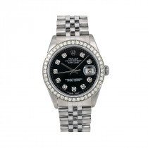 Mens Rolex Oyster Perpetual Datejust Watch 36mm Black Diamond Dial 1.4ct 16014