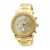 Oversized JoJino Chronograph Mens Diamond Watch Roman Numerals Iced Out Yellow Dial