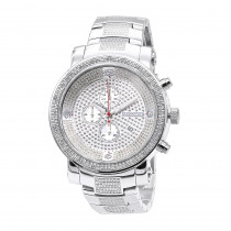 Oversized JoJino Diamond Watch for Men with Chronograph 0.12ct Iced Out Silver Dial