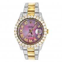 Rolex Datejust 16.5 Carat Mens Diamond Watch 18k Gold Steel Purple MOP