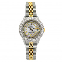 Rolex Datejust Diamond Watch for Women 2ct Diamond Bezel & White Dial 18k Gold
