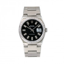 Rolex Datejust Mens Diamond Watch 17000 36mm Black Dial Oyster Bracelet 1.25Ct
