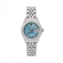 Rolex Oyster Perpetual Lady Datejust Diamond Bezel Watch 26mm Blue Dial 0.9ct