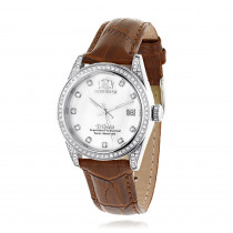 Swiss Quartz Watches Luxurman Womens Diamond Watch Tribeca w Leather Band