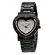 Unique Black Ladies Diamond Heart Watch with Floating Stones by Jojino 0.12c