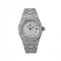 White Dial 33mm Audemars Piguet Royal Oak Ladies Diamond Watch 11.75ct