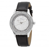White JoJino Diamond Watch for Women Black Leather Band 0.12ct Iced Out Dial