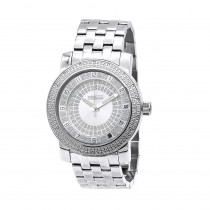 White JoJino Large Mens Diamond Watch 0.25ct Silver Dial Stainless Steel Band