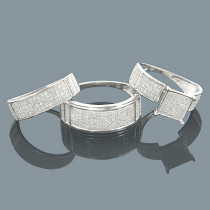 Wedding Ring Sets 10K Diamond Bridal Ring Set 1.04ct