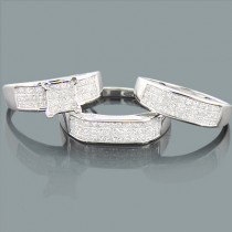 Wedding Ring Sets: Princess Cut Diamond Trio Set 2.53ct 14K Gold