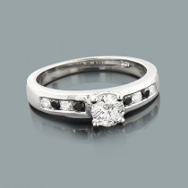 White and Black Diamond Engagement Ring 0.74ct 14K Gold