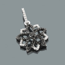 White and Black Diamond Flower Pendant 0.30ct 14K Gold