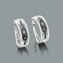 White and Black Diamond Hoop Earrings Gucci Link Design 0.82ct 14K Gold