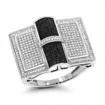White and Black Diamond Ring for Men 1 ct Sterling Silver