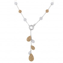 White and Champagne Diamond Ball Necklace 23.9ct 14K Gold