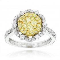 White and  Yellow Diamond Flower Ladies Ring by Luxurman 14K Gold 1.2ct