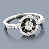 White Black Diamond Cluster Ring 0.57ct 14K