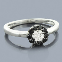 White Black Diamond Cluster Ring 0.60ct 14K