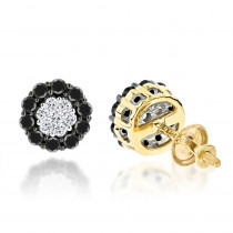 White Black Diamond Earrings 0.6ct 14K Gold Studs