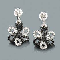White Black Diamond Flower Earrings 0.51ct 14K Gold