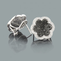 White Black Diamond Flower Earrings 1.20ct 14K Gold