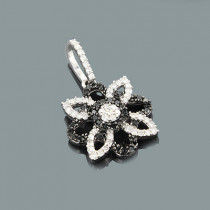 White Black Diamond Flower Pendant 0.29ct 14K Gold