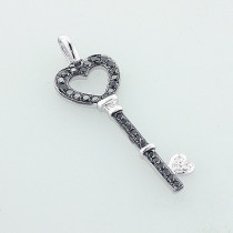 White Black Diamond Key Pendant 14K 0.56ct