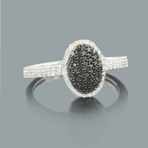 White Black Diamond Pre Engagement Ring 0.43ct 14K Gold