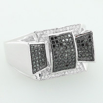 White Black Diamond Ring 10K 0.61ct