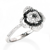 White Black Diamond Ring for Ladies 0.31ct 14K Gold